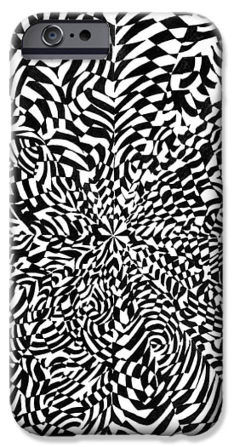 Abstract IPhone 6 Case featuring the drawing Entangle by Crystal Hubbard