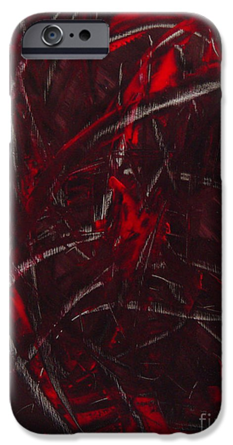 Abstract IPhone 6 Case featuring the painting Expectations Red by Dean Triolo
