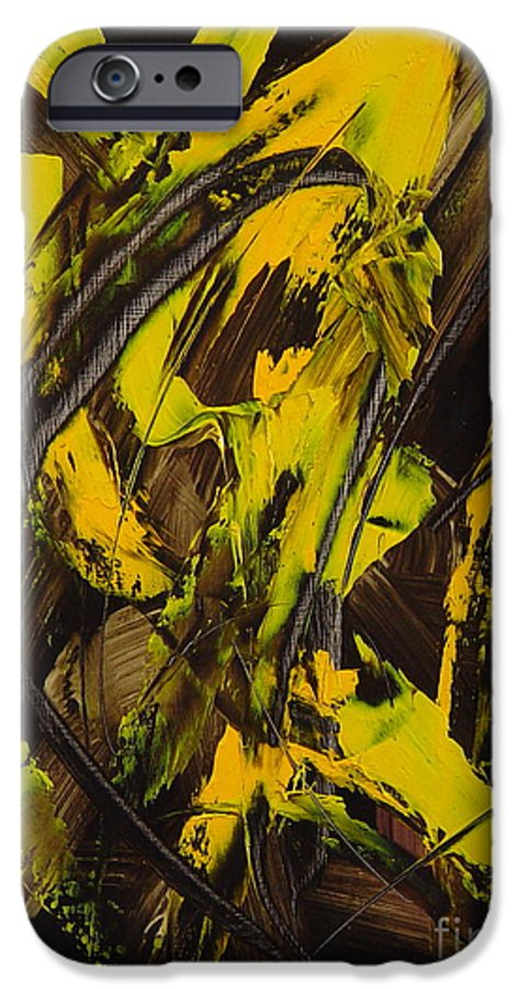 Abstract IPhone 6 Case featuring the painting Expectations Yellow by Dean Triolo