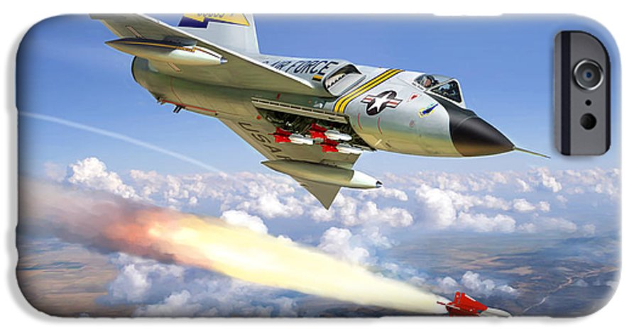 Aviation IPhone 6 Case featuring the painting F-106 Delta Dart 5th Fis by Mark Karvon