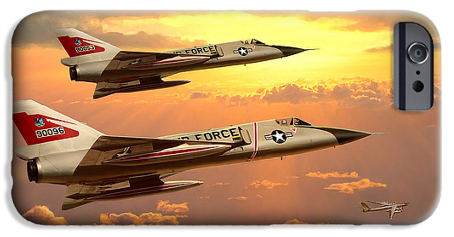 Aviation IPhone 6 Case featuring the painting F-106 Delta Dart Intercept by Mark Karvon
