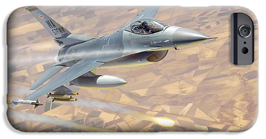 Aviation IPhone 6 Case featuring the painting F-16 Fighting Falcon by Mark Karvon