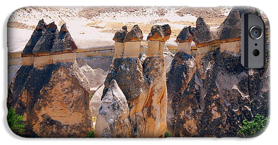 Landscape IPhone 6 Case featuring the photograph Fairy Chimney Panorama by Apurva Madia