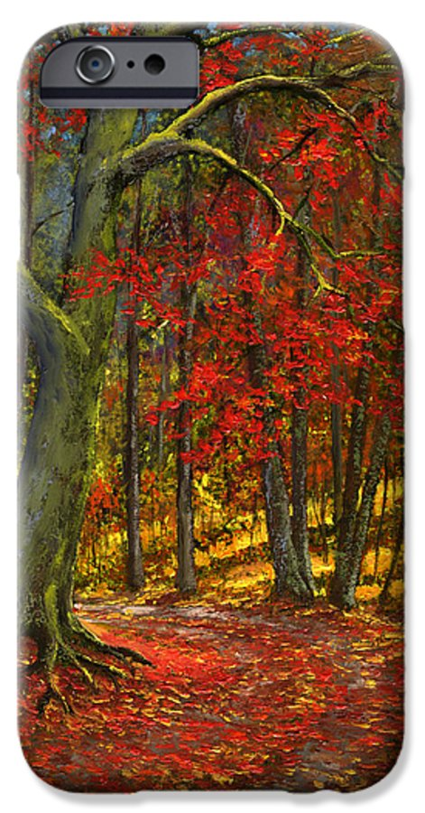 Landscape IPhone 6 Case featuring the painting Fallen Leaves by Frank Wilson