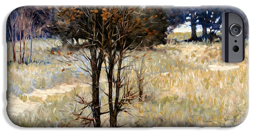 Landscape IPhone 6 Case featuring the painting Feathery Field by Kevin Lawrence Leveque