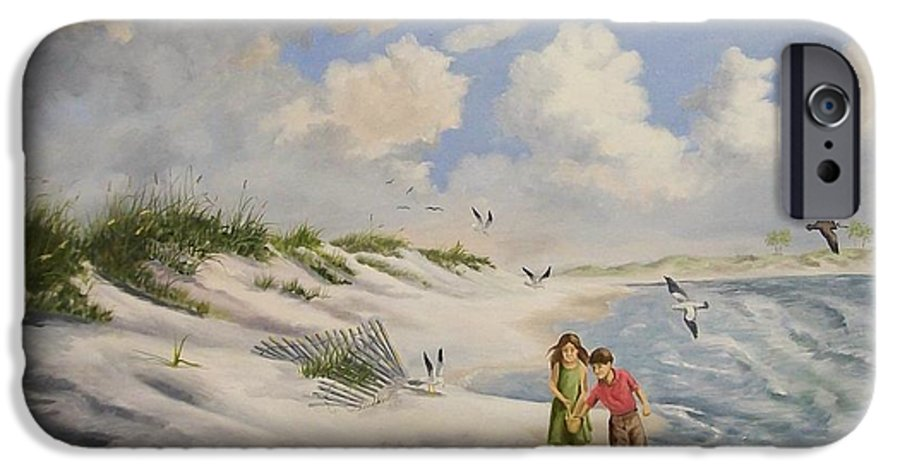 2 Children IPhone 6 Case featuring the painting Feeding The Wildlife by Wanda Dansereau