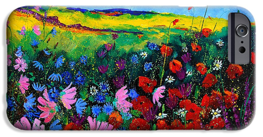 Poppies IPhone 6 Case featuring the painting Field Flowers by Pol Ledent