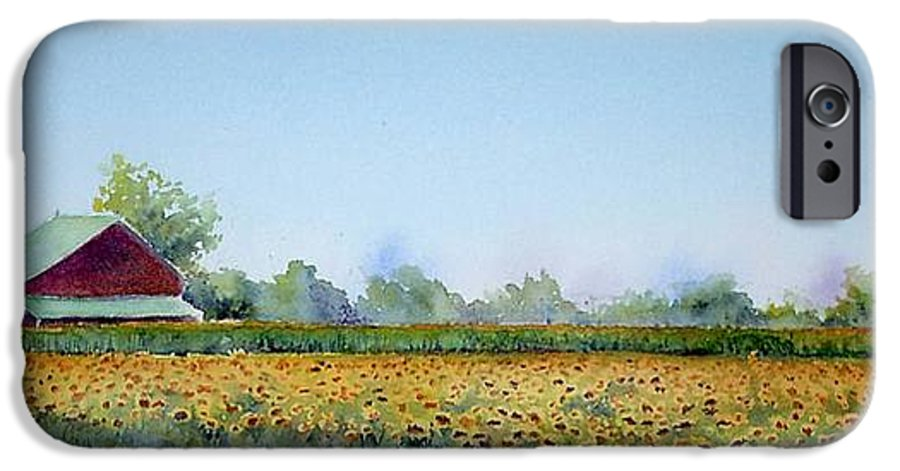 Landscape IPhone 6 Case featuring the painting Field Of Sunshine by Patricia Henderson