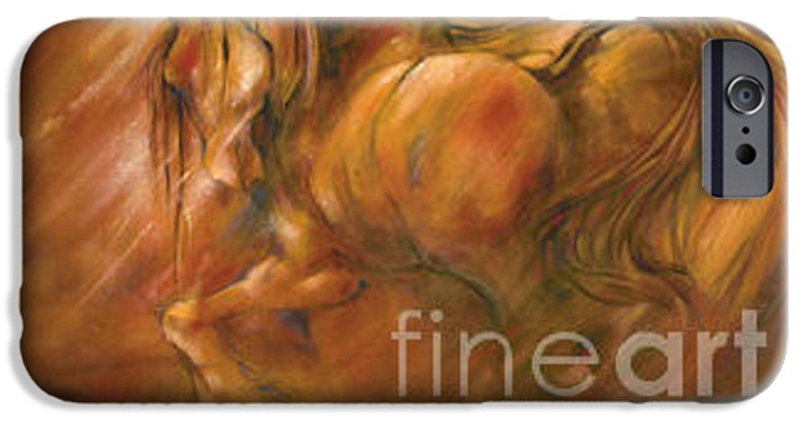 Horse IPhone 6 Case featuring the painting Fire by Wendy Froshay