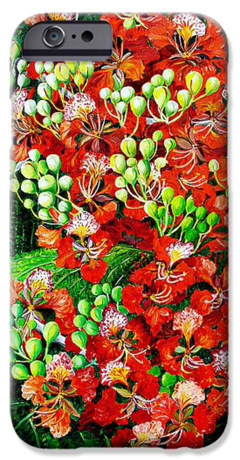Royal Poincianna Painting Flamboyant Painting Tree Painting Botanical Tree Painting Flower Painting Floral Painting Bloom Flower Red Tree Tropical Paintinggreeting Card Painting IPhone 6 Case featuring the painting Flamboyant In Bloom by Karin Dawn Kelshall- Best