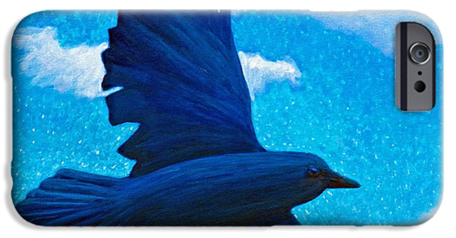 Raven IPhone 6 Case featuring the painting Flight by Brian Commerford