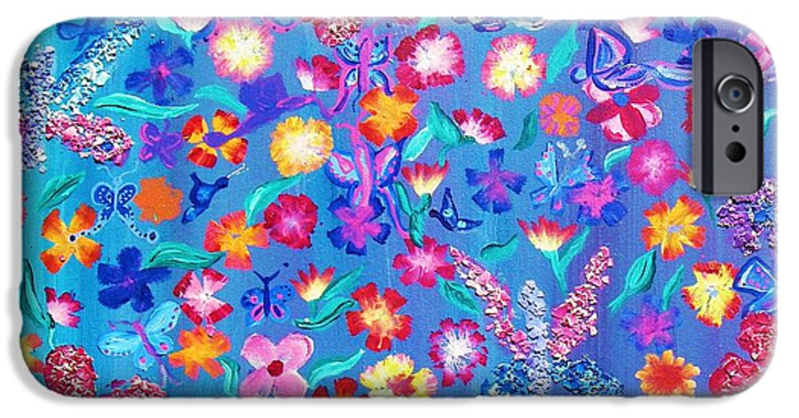 Floral IPhone 6 Case featuring the painting Flowers And Butterflies by J Andrel