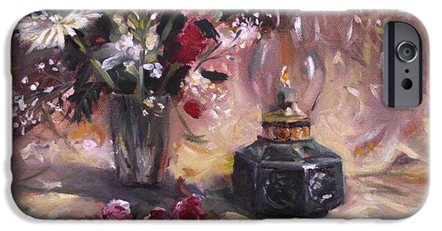 Flowers IPhone 6 Case featuring the painting Flowers With Lantern by Nancy Griswold