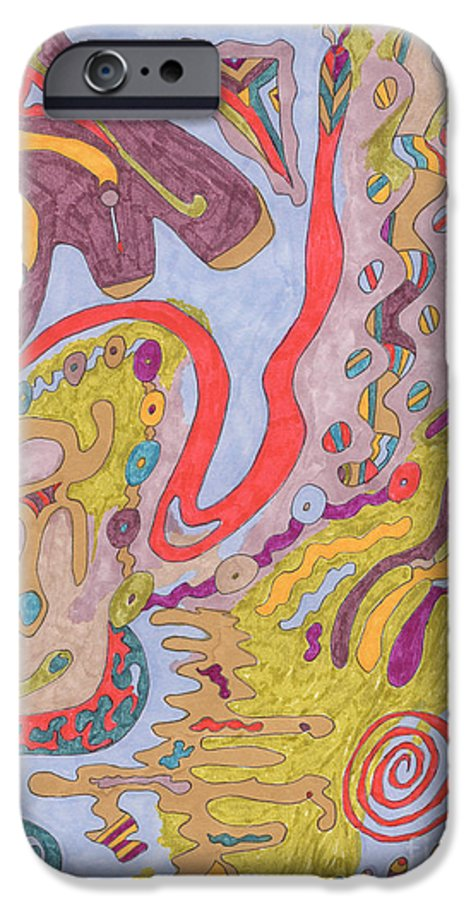 Butterfly IPhone 6 Case featuring the drawing Flutterfly Land by Rebekah McLeod