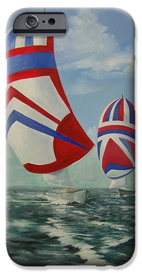 Sailing Ships IPhone 6 Case featuring the painting Flying The Colors by Wanda Dansereau