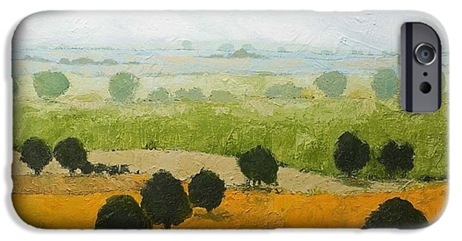 Landscape IPhone 6 Case featuring the painting Fog Lifting Fast by Allan P Friedlander