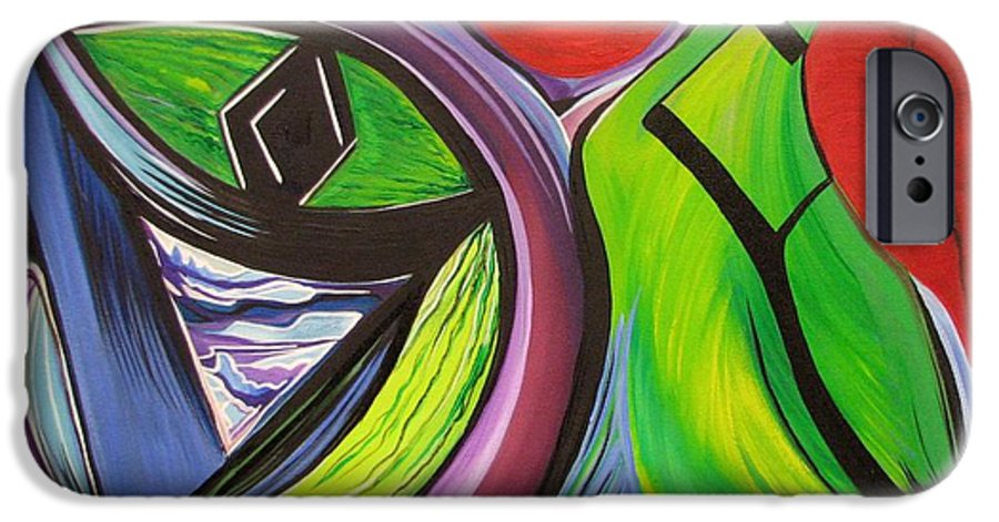 Abstract IPhone 6 Case featuring the painting Friday by Aimee Vance
