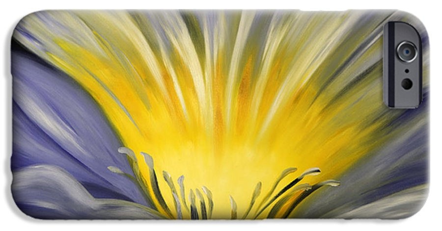 Blue IPhone 6 Case featuring the painting From The Heart Of A Flower Blue by Gina De Gorna