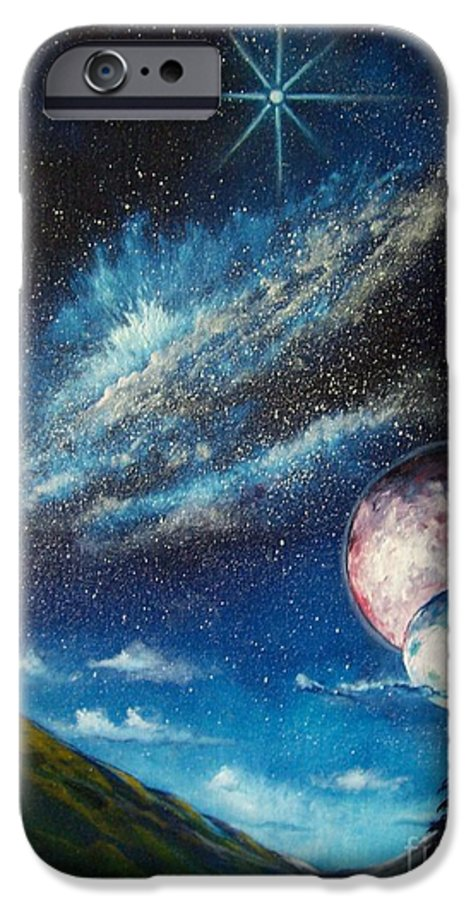 Space Horizon IPhone 6 Case featuring the painting Galatic Horizon by Murphy Elliott