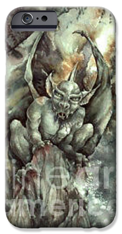 Gargoyle IPhone 6 Case featuring the painting Gargoyle by Wendy Froshay