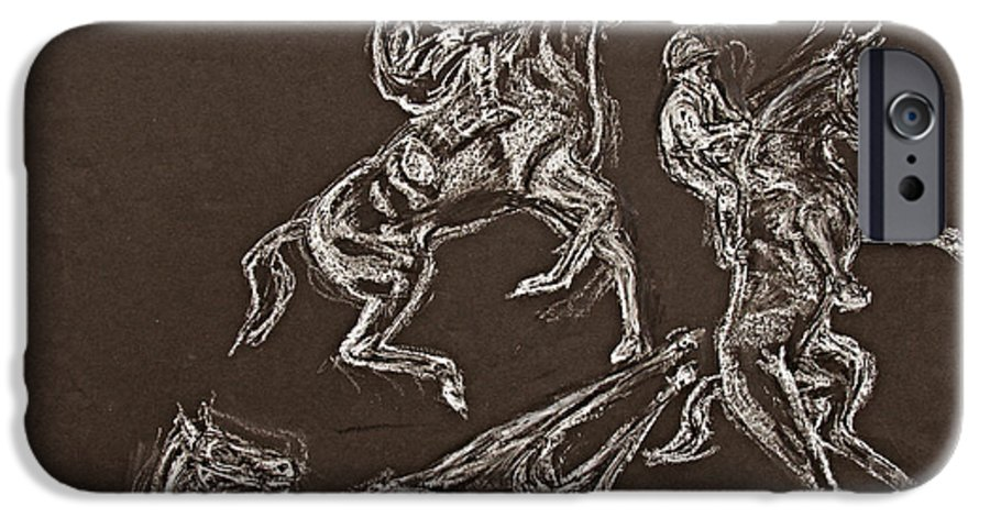 Rearing Horse IPhone 6 Case featuring the drawing Ghost Riders In The Sky by Tom Conway
