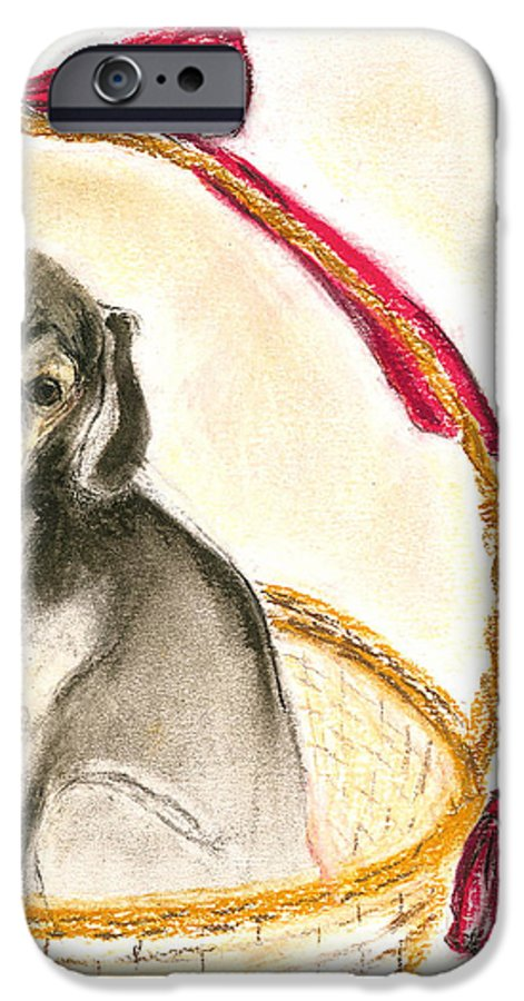 Dog IPhone 6 Case featuring the drawing Gift Basket by Cori Solomon
