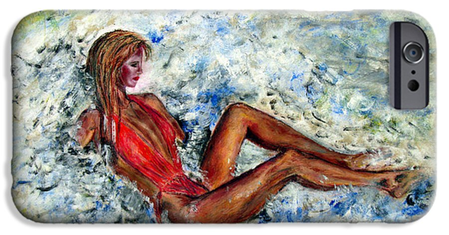 Girl IPhone 6 Case featuring the painting Girl In A Red Swimsuit by Tom Conway