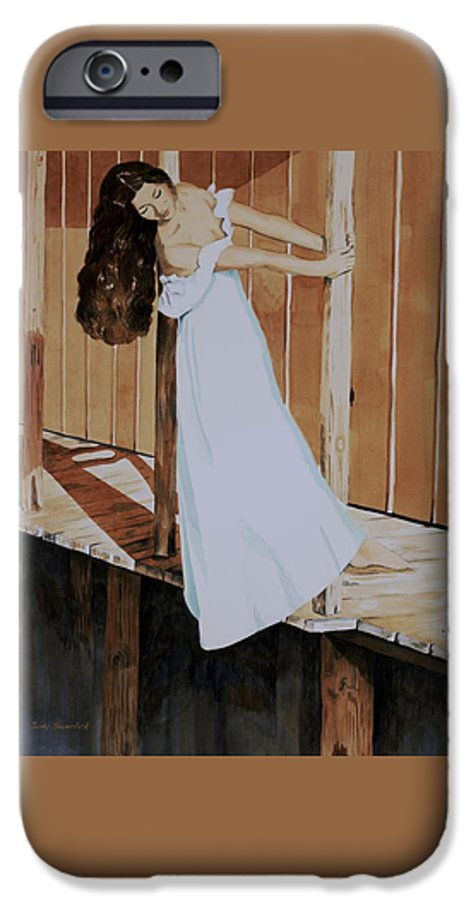 Girl On Dock IPhone 6 Case featuring the painting Girl On Dock by Judy Swerlick