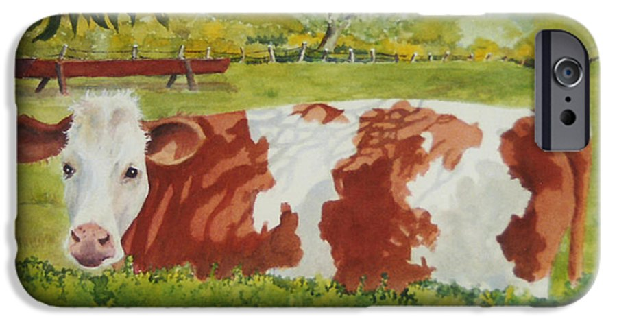 Cows IPhone 6 Case featuring the painting Give Me Moooore Shade by Mary Ellen Mueller Legault