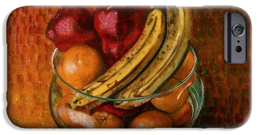 Still Life IPhone 6 Case featuring the painting Glass Bowl Of Fruit by Sean Connolly