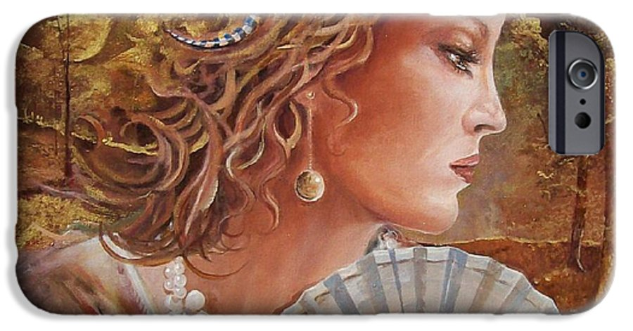 Female Portrait IPhone 6 Case featuring the painting Golden Wood by Sinisa Saratlic