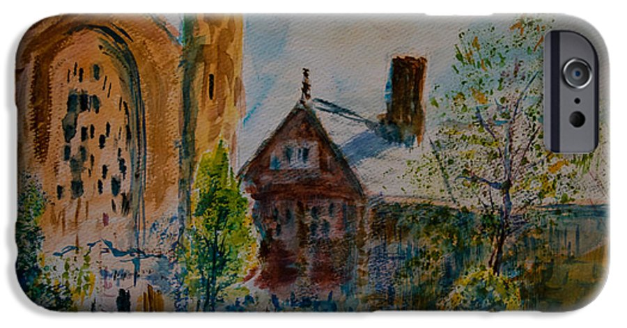 Watercolor IPhone 6 Case featuring the painting Graham Chapel Morning Effect by Horacio Prada