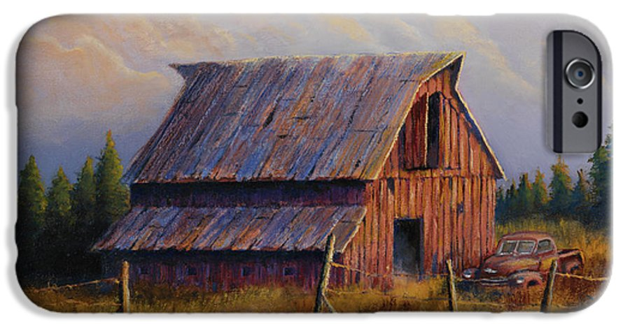 Barn IPhone 6 Case featuring the painting Grandpas Truck by Jerry McElroy