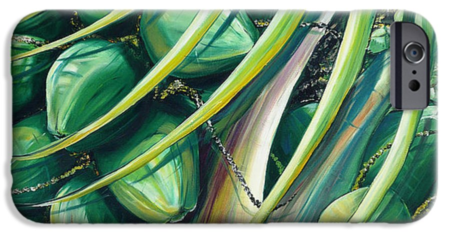 Coconut Painting Caribbean Painting Coconuts Caribbean Tropical Painting Palm Tree Painting  Green Botanical Painting Green Painting IPhone 6 Case featuring the painting Green Coconuts 2 by Karin Dawn Kelshall- Best
