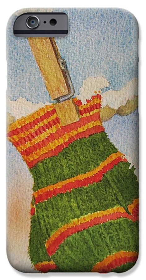 Children IPhone 6 Case featuring the painting Green Mittens by Mary Ellen Mueller Legault