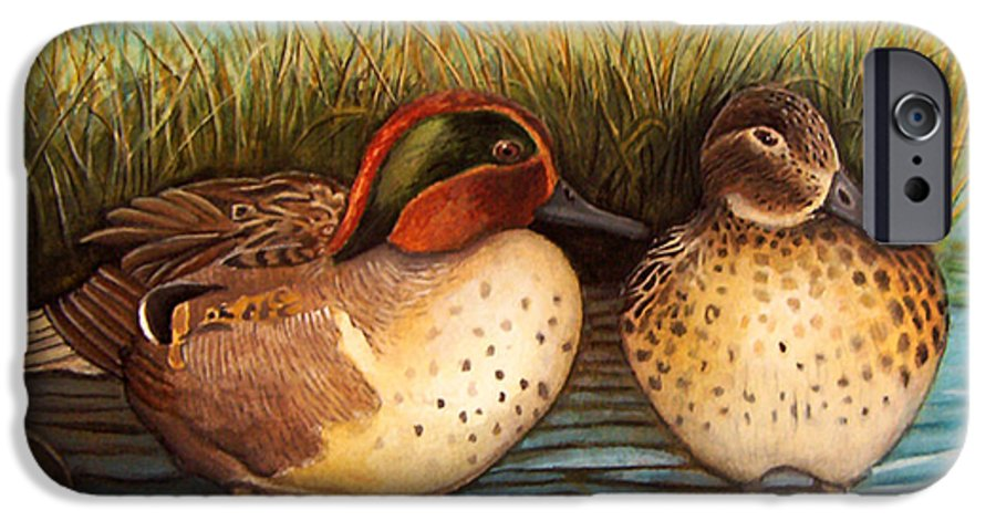 Rick Huotari IPhone 6 Case featuring the painting Green Winged Teal by Rick Huotari