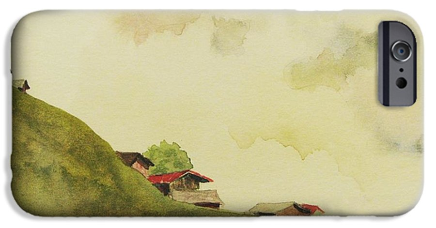 Swiss IPhone 6 Case featuring the painting Grindelwald Dobie Inspired by Mary Ellen Mueller Legault