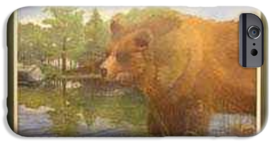 Rick Huotari IPhone 6 Case featuring the painting Grizzly by Rick Huotari