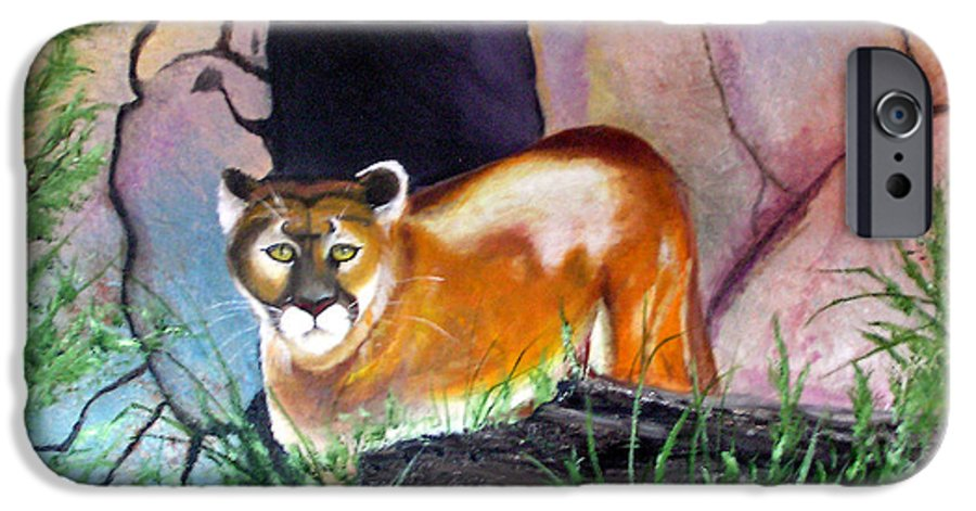 Big Cats IPhone 6 Case featuring the painting Guarding The Cave by Lora Duguay