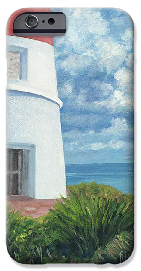 Seascape IPhone 6 Case featuring the painting Gun Cay Lighthouse by Danielle Perry
