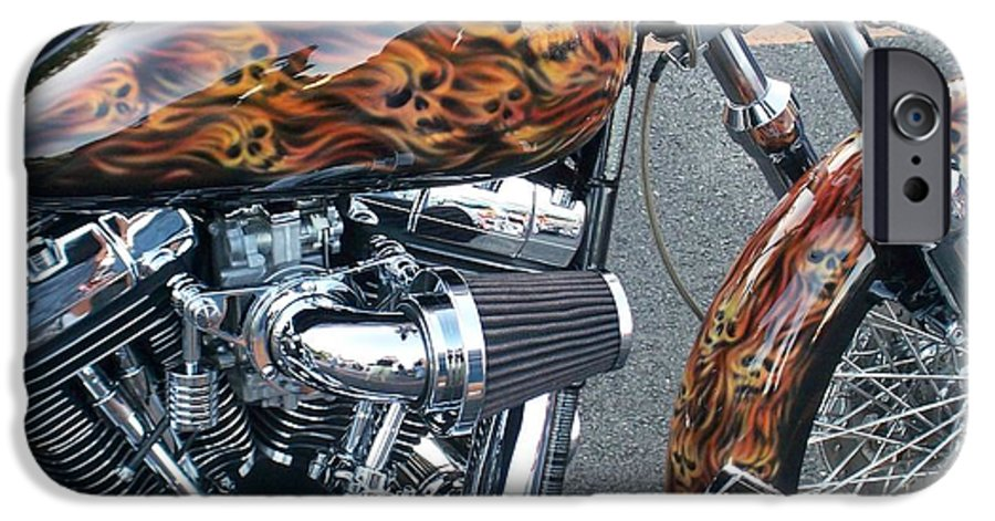 Motorcycles IPhone 6 Case featuring the photograph Harley Close-up Skull Flame by Anita Burgermeister