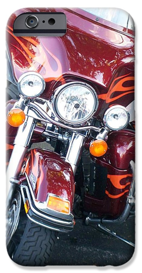 Motorcycles IPhone 6 Case featuring the photograph Harley Red W Orange Flames by Anita Burgermeister