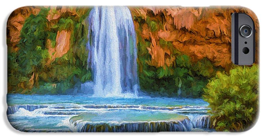 Fine Art IPhone 6 Case featuring the painting Havasu Falls by David Wagner