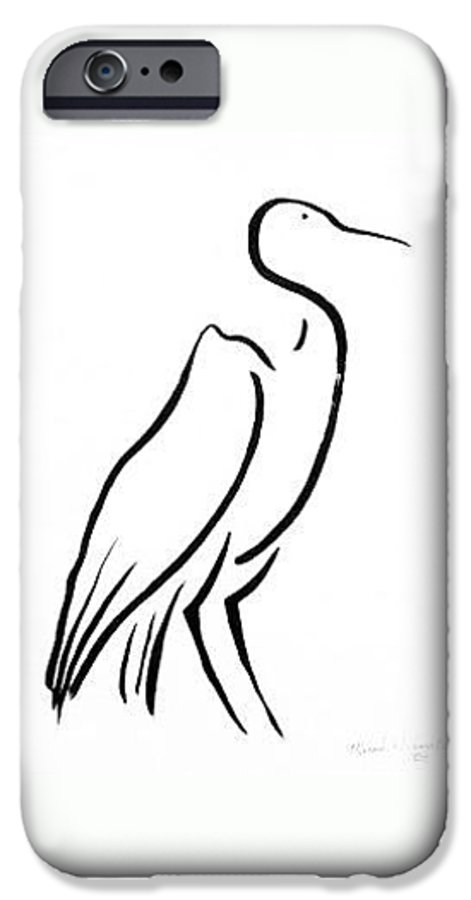 Calligraphy IPhone 6 Case featuring the drawing Heron by Micah Guenther
