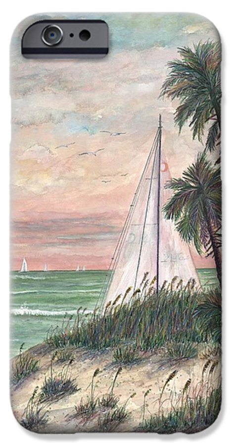 Sailboats; Palm Trees; Ocean; Beach; Sunset IPhone 6 Case featuring the painting Hideaway by Ben Kiger