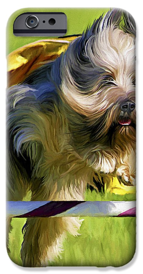 Silky Terrier IPhone 6 Case featuring the painting High Flier by David Wagner
