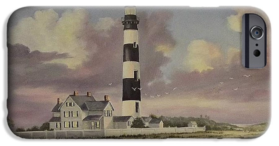 Lighthouse IPhone 6 Case featuring the painting History Of Morris Lighthouse by Wanda Dansereau