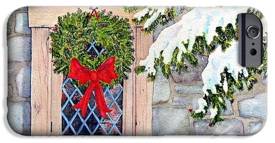 Holidays IPhone 6 Case featuring the painting Home For The Holidays by Mary Ellen Mueller Legault