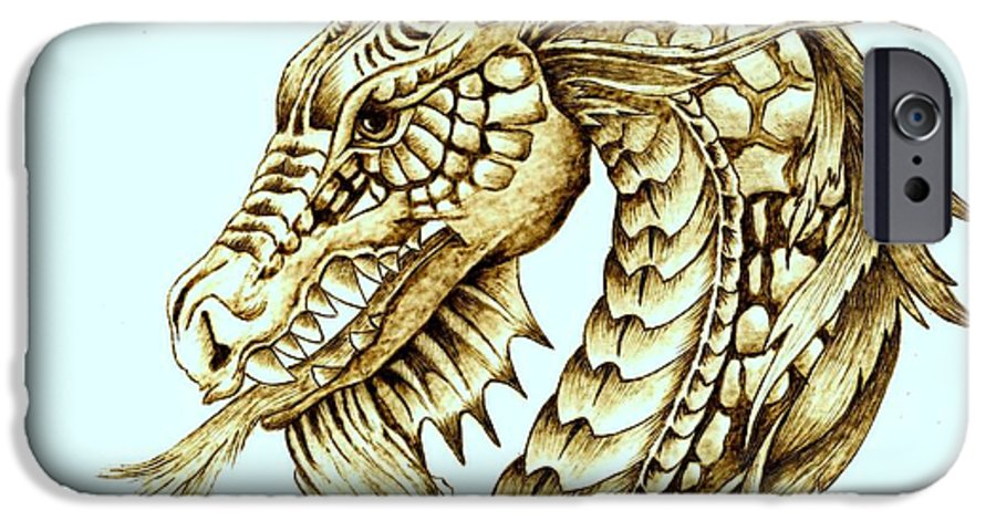 Dragon IPhone 6 Case featuring the pyrography Horned Dragon by Danette Smith