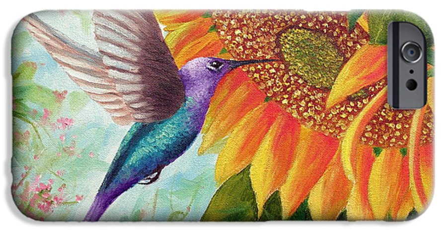 Hummingbird IPhone 6 Case featuring the painting Humming For Nectar by David G Paul